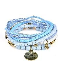JAJAFOOK Bohème Stretch Perles Amour pièce de Monnaie Pendentif Wrap Bracelet Stacked Bracelets Ensembles pour Femme, Pile de 6