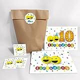 12-er Set Einladungskarten, Umschläge, Tüten, Aufkleber zum 10. Geburtstag