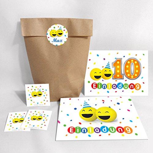 12-er Set Einladungskarten, Umschläge, Tüten, Aufkleber zum 10. Geburtstag lustige Party-Bälle für Mädchen und Jungen / Bunte und Lustige Einladungen zum zehnten Geburtstag für Kinder