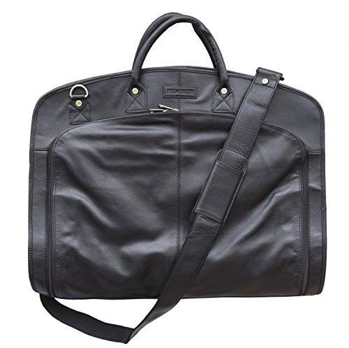 Carrier Schwarz Kleidersäcke (Prime Hide Luxus Leder für Anzüge Kleidersack, schwarz (Schwarz) - 893BL)