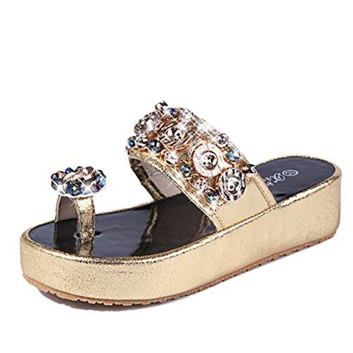 spessa piattaforma scarpe moda estate/Signore coreano strass scarpe piatte/Flip flop B