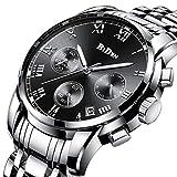 Uhr, Herrenuhr Edelstahl wasserdicht Herren klassischen Casual Business Armbanduhr Multifunktions mit Datumskalender Quarzuhr Silber (Schwarz)