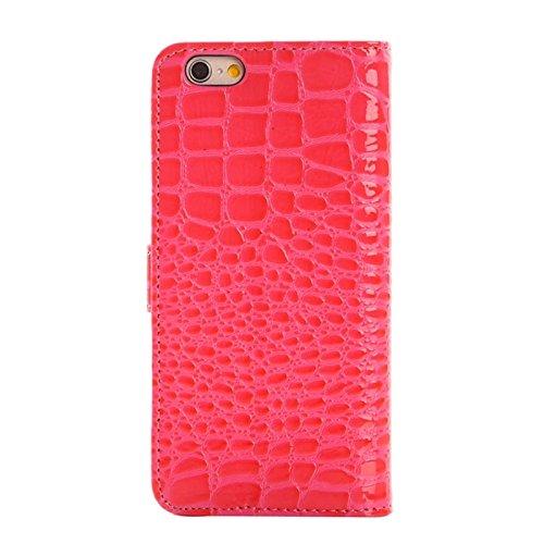 Phone case & Hülle Für iPhone 6 Plus & 6S Plus, Krokodil Textur Leder Tasche mit Halter und Kartensteckplätze ( Color : Magenta ) Magenta