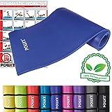 POWRX Gymnastikmatte Trainingsmatte Pilatesmatte Phthalatfrei 190 X 60 X 1.5 cm oder 190 x 100 x 1.5 cm in Verschiedenen Farben (Dunkelblau, 190 x 60 x 1.5 cm)