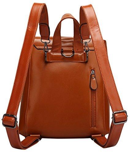 Yisidoo Damen Vintage Oel und Wachs Leder Rucksack Schulrucksack Handtasche Reisen Tasche(Blau) Wine Red