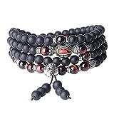 coai Collier Mala Bracelet Multi-Tours Perles Bouddhistes Onyx Noir Mat Œil de Tigre Rouge Unisexe