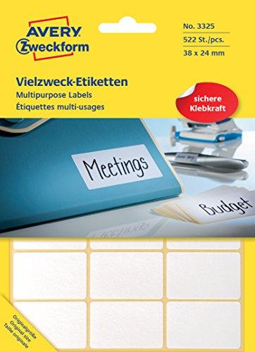 Preisvergleich Produktbild Avery Zweckform 3325 Vielzweck Etiketten (522 Stück, Premium, Papier matt, 38 x 24 mm) 29 Blatt weiß
