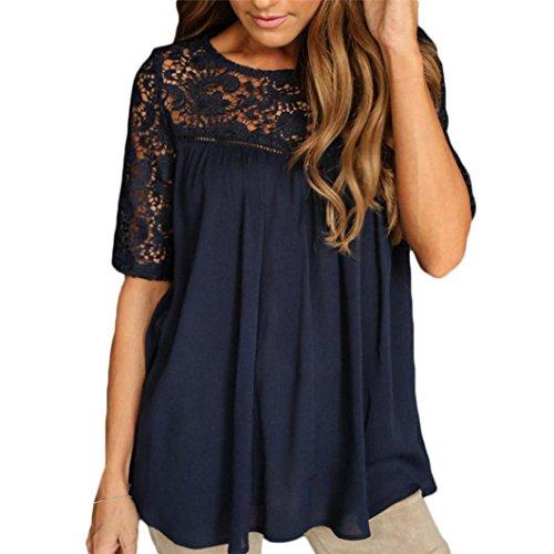 LILICAT Frauen Sommer Tops Spitze Chic Top Damen Oberteile Bekleidung Kurzarm Bluse Panzer Loose T-Shirt Hollow Solid Lace Bluse (XL, Marine) (Marine-blau-t-shirt Top)