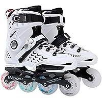 1 par de Patines 8 Ruedas Full Flash LED Patines de Rueda Fancy Straight Adult Roller Skates Profesional Hombre y Mujer Skates Zapatos - Blanco 38