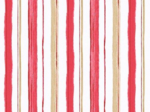 Caselio Blossom 59338080-Carta da parati di fondo bianco panna a strisce di colore marrone e fragola