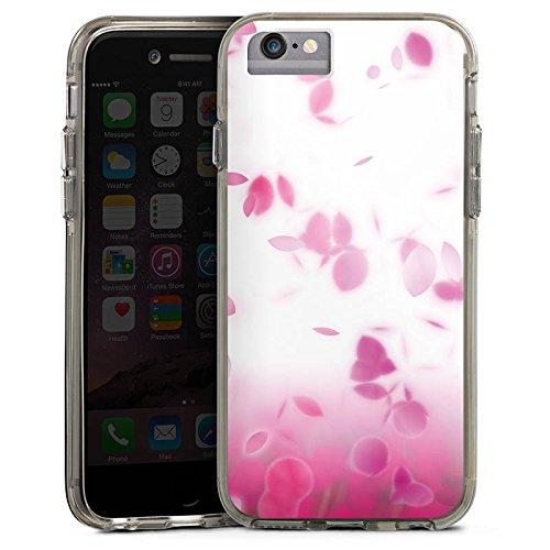 Apple iPhone 7 Bumper Hülle Bumper Case Glitzer Hülle Pink Rosenblaetter Blaetter Bumper Case transparent grau