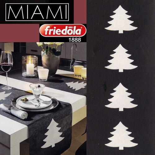 Tischläufer MIAMI 40 x 160 cm Weihnachtsbaum anthrazit / weiß