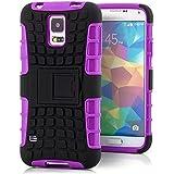 Saxonia Outdoor Silikon Schutzhülle für Samsung Galaxy S5 / S5 Neo Hybrid Case Handyhülle Schwarz-Violett