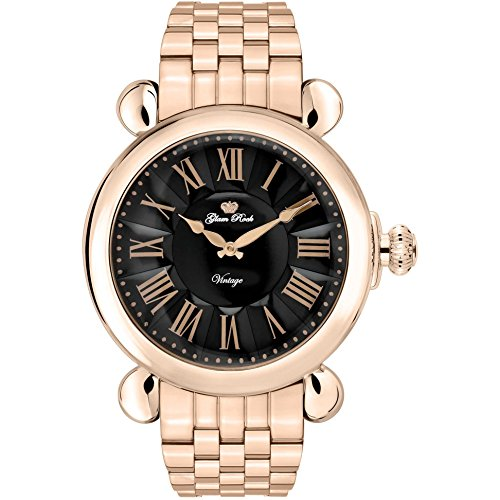 Glam Rock Women's Vintage 40mm Rose Gold Plated Bracelet & Case Swiss Quartz Black Dial Watch GR28044-BR