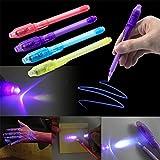 Xshuai  Multifonction Surligneur Violet UV Magic Lumières LED Light Yanchao Invisible Stylo pour Fête d'halloween Rave Cas Photographies, Multicolore, Size 13 cm (Length)