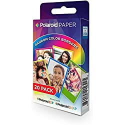 Polaroid Premium Zink Paper - Lot de 20 Feuilles, Compatible avec les Appareils-Photo Polaroid Snap, Z2300, Socialmatic Instant et evec l'Imprimante Zip Instant, 5 x 7,6 cm, Marges De Couleurs