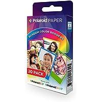 Polaroid Paper - Paquete DE 20 Papeles fotográficos (Tecnología Zink Zero Ink, compatibles con Polaroid Snap y Polaroid Zip, 5 x 7.6 cm), Márgenes en Colores Surtidos