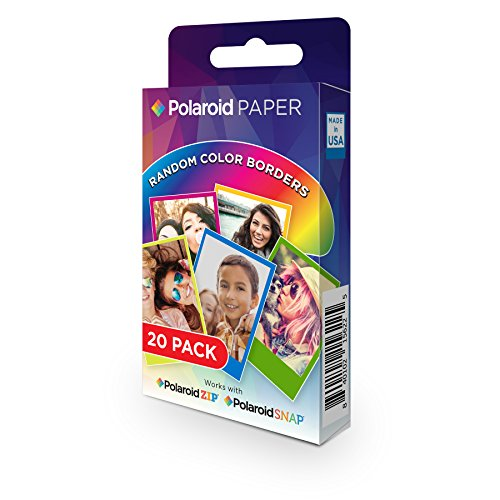 Polaroid Premium Zink Carta fotografica Compatibile con Polaroid Snap, Snap Touch Z2300, SocialMatic Instant Camera e Zip Instant Printer, 20 Fogli, 5 x 7.6 cm, Margini in Colori Assortiti