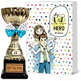 Tied Ribbons Anniversary Special Gift For Father Golden Trophy With Greeting Card