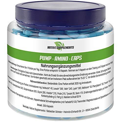 Pump Amino Caps, 350 Kapseln pro Dose, Hochdosiert, Muskelaufbau Nahrungsergänzungsmittel mit Bcaa L-Glutamin, L-Arginin, L-Tyrosin, Valin, Lysin, Threolin, Glycin uvm. beste Aminosäuren