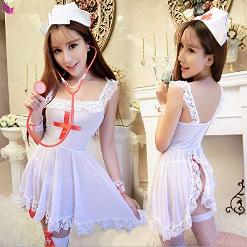 Butterfly BB Sexy Krankenschwester Kostüme für Frauen Naughty Nurse Outfit Dessous sexy offene Uniform Versuchung sexy Dessous Set Nachtclub Wear, Cosplay