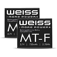 2x WEISS Akku für Fritz!Fon C4 / C5 / M2 / MT-F [ersetzt: AVM 312BAT016 (Akku Fritz Fon C4, Akku Fritz Fon M2) / 312BAT006 (Akku Fritz Fon MT-F / Akku Fritz Fon C5] 750mAh Li-Ion