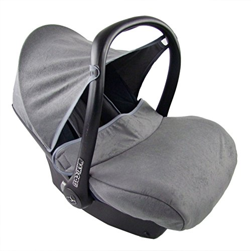 BAMBINIWELT kompl. Ersatzbezug für Maxi-Cosi CabrioFix 7-tlg, Bezug für Babyschale, Sommerbezug Cabrio Fix MARINE/GRAU