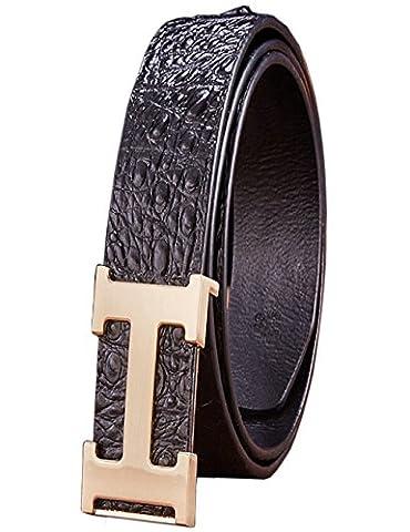 Menschwear Herren Echtes Büffel Leder Gürtel mit Schlupf Schnalle Jeans Hose Gürtel Voellig verstellbar 38mm Schwarz