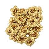 Sharplace 50 x Rosen Blumen Köpfe mit Blütenblätter, Künstliche Blumen, Farbwahl - Golden