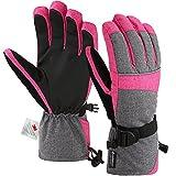 Andake 3M Thinsulate | Touchscreen wählbar | warm wasserdicht Winddicht Rutschfest atmungsaktiv | Handschuhe Skihandschuhe Winterhandschuhe Thermohandschuhe Damen Frauen, Pink, S