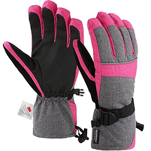 3M Thinsulate Warm Winddicht Wasserdicht Rutschfest Atmungsaktiv Handschuhe Damen Frauen Mädchen Skihandschuhe Winterhandschuhe Skifahren...