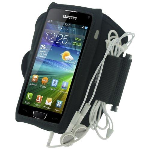igadgitz Schwarz Wasserabweisendes Neopren Sport Fitnessstudio Jogging Armband Oberarmtasche für Samsung Wave 3 Bada 2.0 S8600 Smartphone Handy