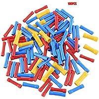 vige 100 pcs. Terminales termorretráctiles Mixtos. Tubo de Manga de Soldadura a Prueba de Agua. Kit de Conectores aislados a Tope eléctricos - Rojo + Azul + Amarillo