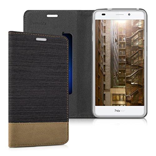 kwmobile Flip Hülle Case für Huawei Honor 5C - Schutzhülle Cover Bookstyle aus Kunstleder und Textil in Anthrazit Braun