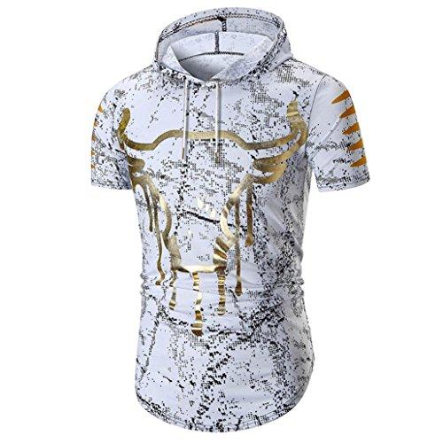 Sport Hooded Shirt Herren Slim Fit Kanpola Manner Oberteile mit Kapuze Kurzarm T-Shirt Top Sweatshirts (Cropped Hooded Sweater)