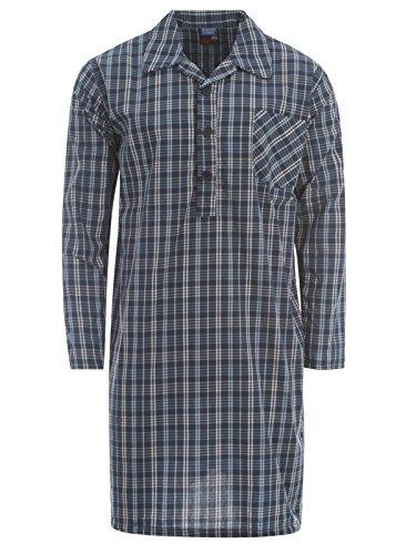 Klassisches Herren-Nachthemd Night Pyjama-Oberteil Shirt Sommer Karo Streifen - Check MN56
