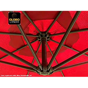 OMBRELLONE CON FODERA PROTETTIVA SENZA BALZA 91914DEL Decentrato a Braccio Bordeaux 3 m Base in Metallo Inclusa - Prodotto distribuito in esclusiva da Globolandia srl