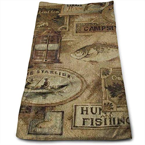 Wolanim Face Hand Towel Fishing Lodge Fish Bath Towel Multipurpose for Bathroom, Hotel, Gym and Spa -
