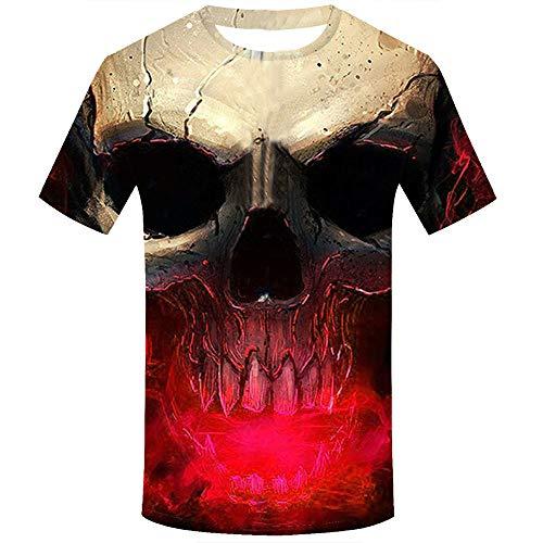 MAYOGO 3D Druck Tshirt Herren Lustig Horror Totenkopf 3D Print Oberteile Hemd Männer Lässige Kurzarm T-Shirts Round Hals Hemden Tops