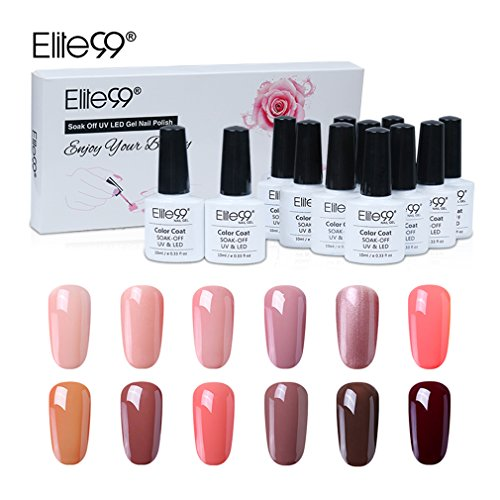 UV Nagellack set von Elite99 soak off nagelgel farben auflösbarer peel off nagellack nudefarben 12x 10ML