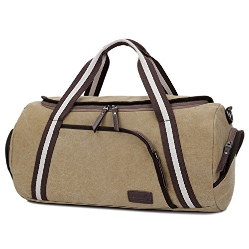 Reisetasche klein herren Wochenend-Reisetasche für 2-3 Tage Reise-Qualitäts-Camping Messenger Tasche Mehrzweck Sporty Gear Bag (Schwarz) Khaki