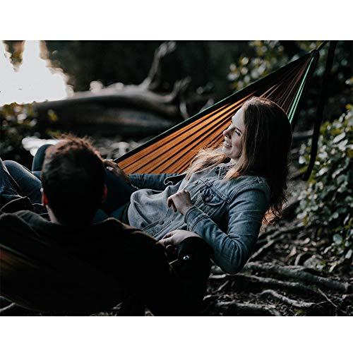 NatureFun Ultraleichte Camping Hängematte / 300kg Tragfähigkeit, Atmungsaktiv, schnell trocknende Fallschirm Nylon / Enthalten 2 x Premium Karabinerhaken 2x Nylonschlingen / Fürs Freie oder einen Innengarten - 7