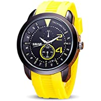 WENY Reloj Multifuncional Reloj para Hombre electrónico Resistente al Agua Reloj de Cuarzo a Prueba de Golpes (Color : Yellow)