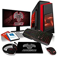 "ADMI Gaming PC Package: AMD A8-9600 / Radeon R7 Graphics, 1TB HDD, 16GB RAM, F3 Red Case, WiFi, Windows 10, RGB Keyboard/Mouse/Mouse Mat/Headset & 24"" Monitor"