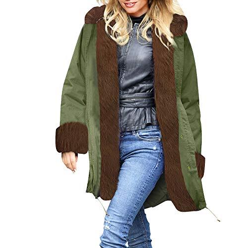 Frauen Winter Overcoat MYMYG Kapuzenjacke Faux Fur Parka Hooded Thick Warm Daunenjacke Slim Long Fleecejacken Lammy Jacke Lange Mantel Outwear(Armeegrün,EU:38/CN-L)
