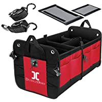 DUSSLE DORF Multi Compartments Collapsible Portable Trunk Dicky Organizer for Garage, SUV, Cars, Minivan (Red)