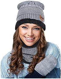 ValueHall 2 Pezzi Invernali All aperto Foderato Berretti Cappelli da Sci e  Sciarpa Set Cappello Caldo Berretti in… 6bb1fe7aa0e5