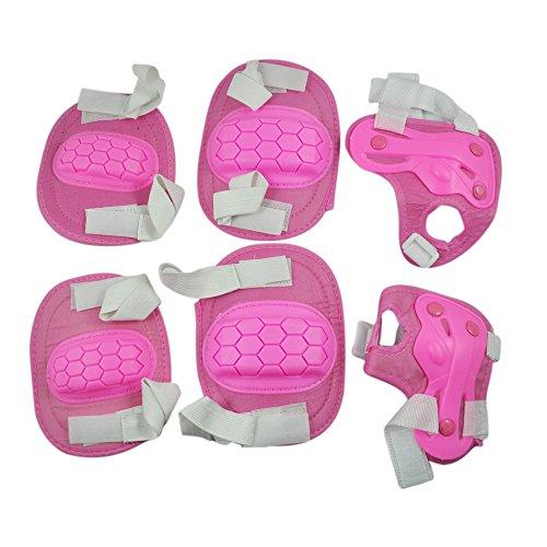 SODIAL(R) Kit protezione per ginocchia gomiti polsi pattini in linea ginocchiere gomitiere e polsiere rosa per bambini