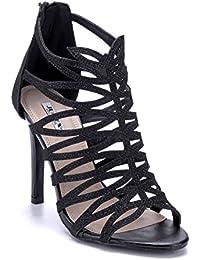 eced74bc15d120 Schuhtempel24 Damen Schuhe Sandaletten Sandalen Stiletto Glitzer Cut Out 11  cm High Heels