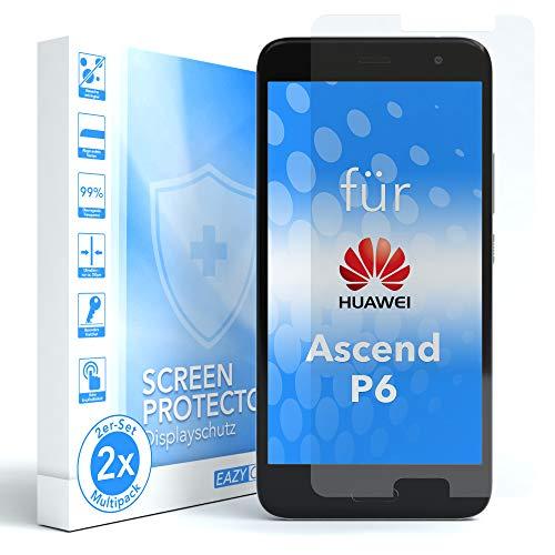 EAZY CASE 2X Panzerglas Bildschirmschutz 9H Härte für Huawei Ascend P6, nur 0,3 mm dick I Schutzglas aus gehärteter 2,5D Panzerglasfolie, Bildschirmschutzglas, Transparent/Kristallklar